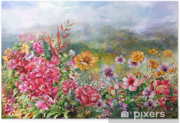 landscape of multicolored flowers watercolor painting style Poster - Hobbies and Leisure