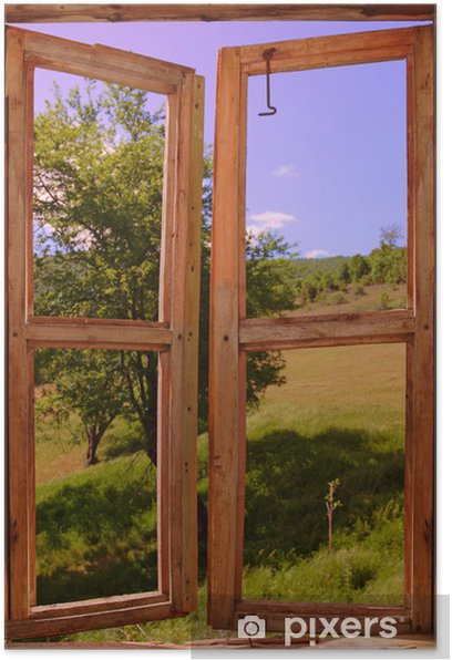 landscape seen through a window Poster - Themes