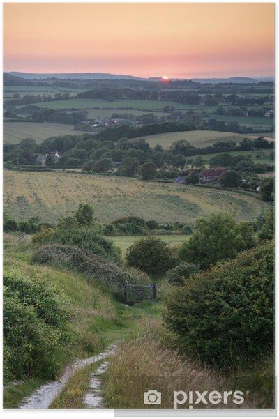 Poster Landschap Foto Van De Zomer Zonsondergang Uitzicht Over Engels Platteland