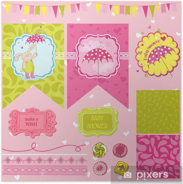 Poster Lapin Baby Shower Thème - Éléments de conception Scrapbook - dans le vecteur - Célébrations
