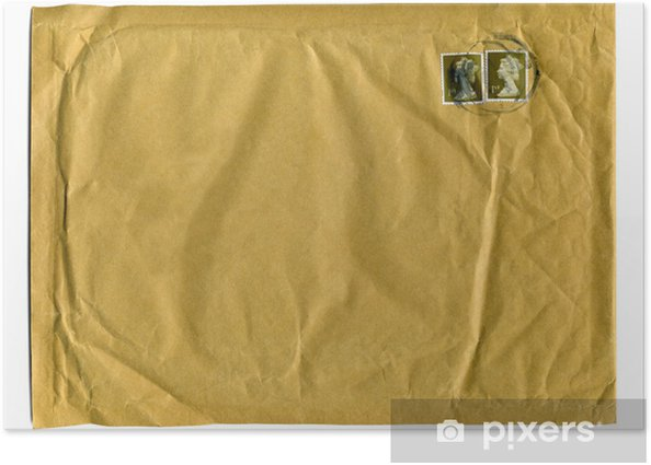 Large brown envelope with first class stamps Poster
