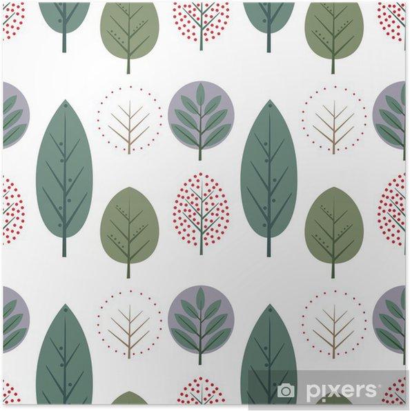 Póster Las hojas decorativas del patrón sin costuras. la naturaleza ...