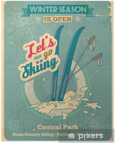 Poster Låt oss åka skidor retro affisch - Texturer