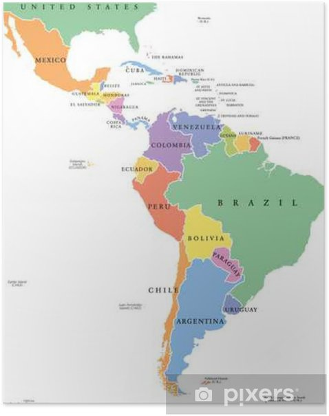 Latin America single states political map. Countries in different colors,  with national borders and English country names. From Mexico to the  southern ...