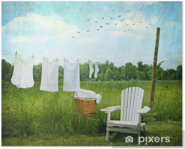 Laundry drying on clothesline Poster - Home and Garden