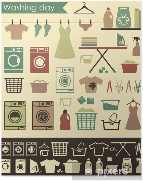 laundry icons Poster - Home and Garden