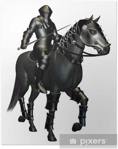 Poster Le Chevalier noir à cheval • Pixers® - Nous vivons pour changer