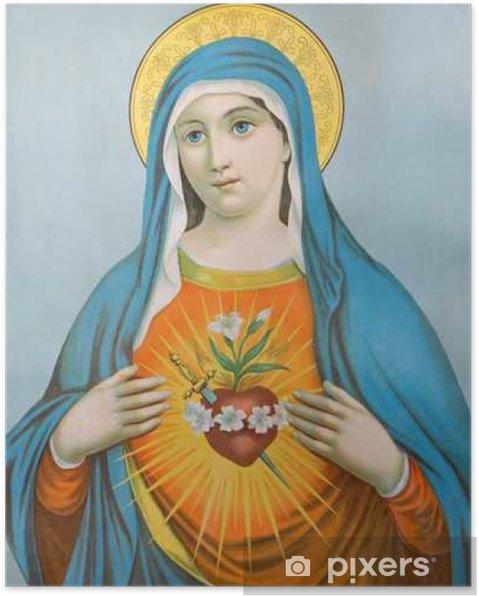 Poster Le Cœur de la Vierge Marie - image typique catholique - Ressources graphiques