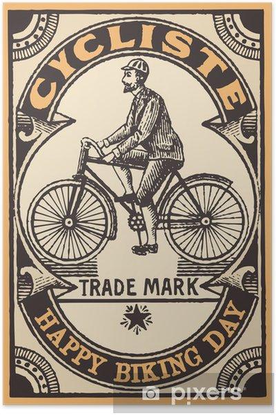 Poster Le cycliste - Onderweg
