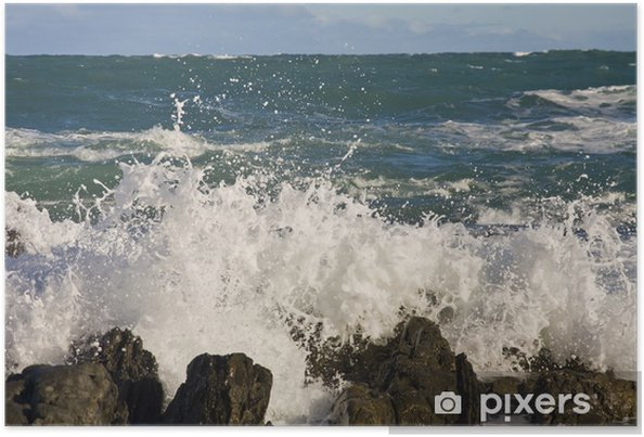 Poster Le déferlement des vagues sur les rochers sur une plage en Nouvelle-Zélande - Eau