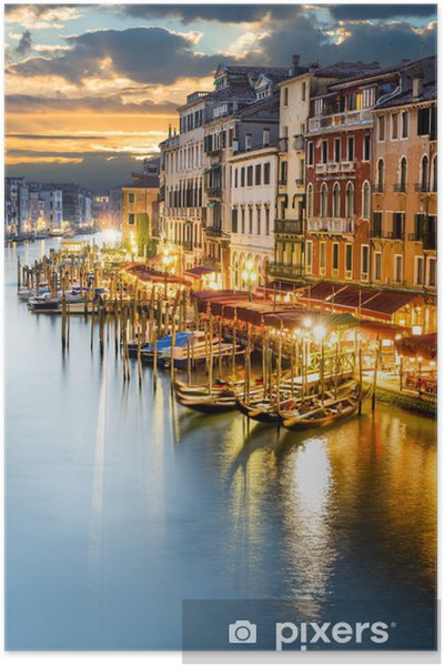 Poster Le Grand Canal à Venise de nuit -