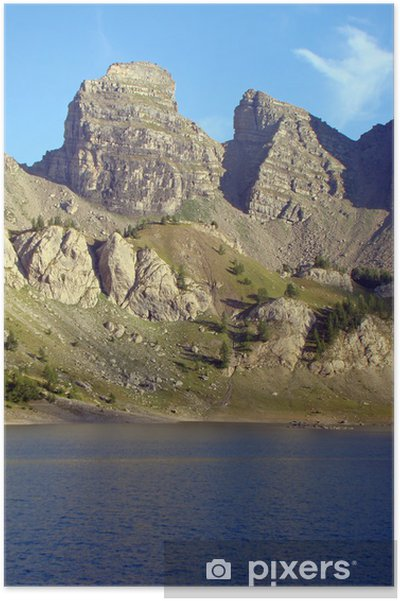 Poster Le Lac d'Allos et ses tours, dans le Mercantour - Europe