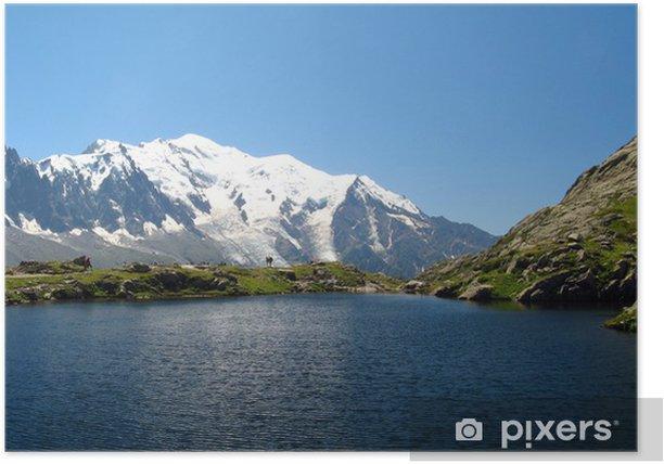 Poster Le lac de Cheserys et le Mont Blanc - Europe