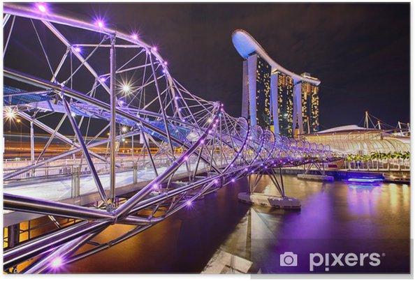 Poster Le pont Helix avec Marina Bay Sands à fond - Thèmes