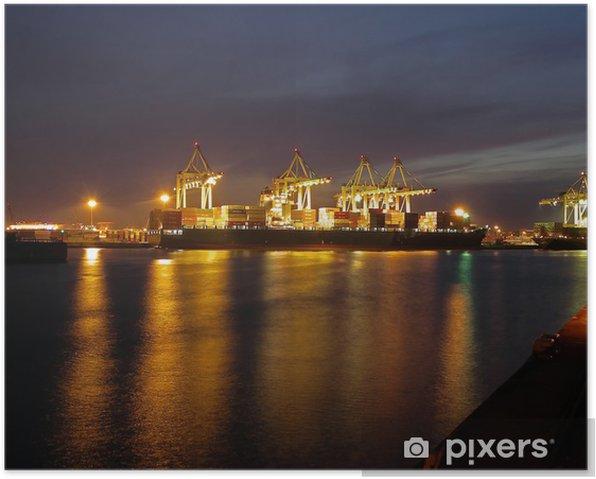 Poster Le port de Hambourg dans la nuit - Europe