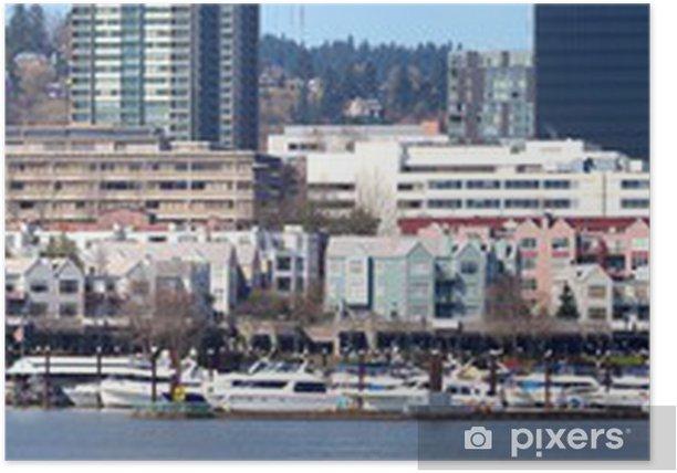 Poster Le port de plaisance panorama de bord de mer, Portland, Oregon. - Amérique