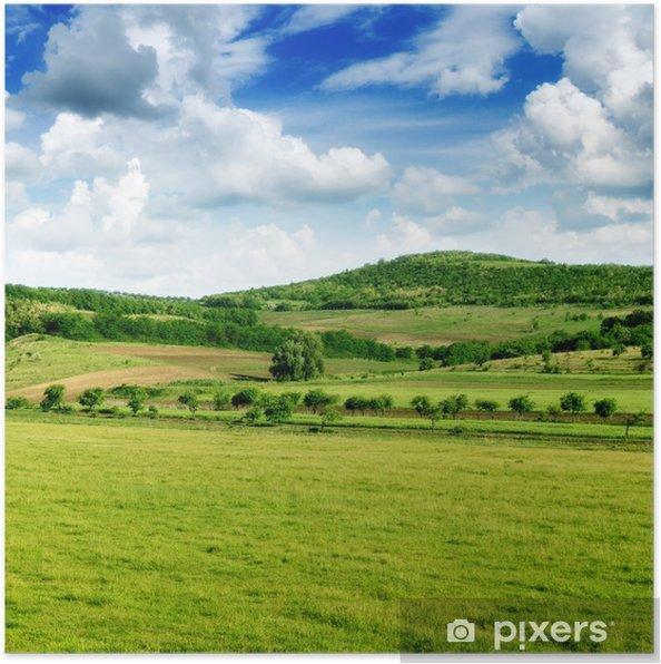 Poster Le relief montagneux et le ciel bleu - Ciel