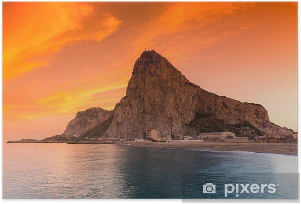 Poster Le rocher de Gibraltar vu de la baie côté - Europe