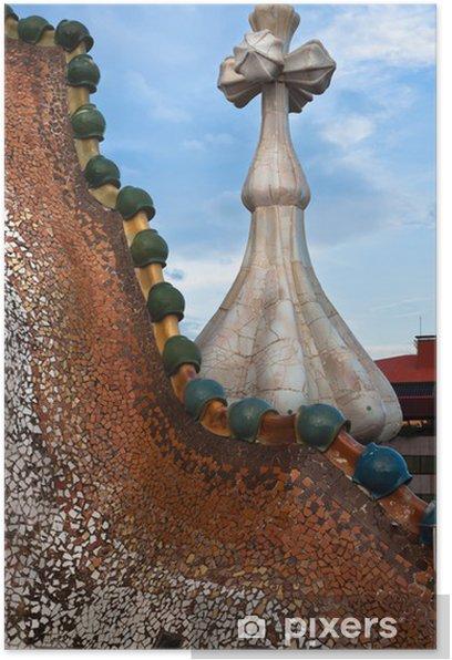 Poster Le toit décoré. Casa Batllo. Antonio Gaudi. - Villes européennes