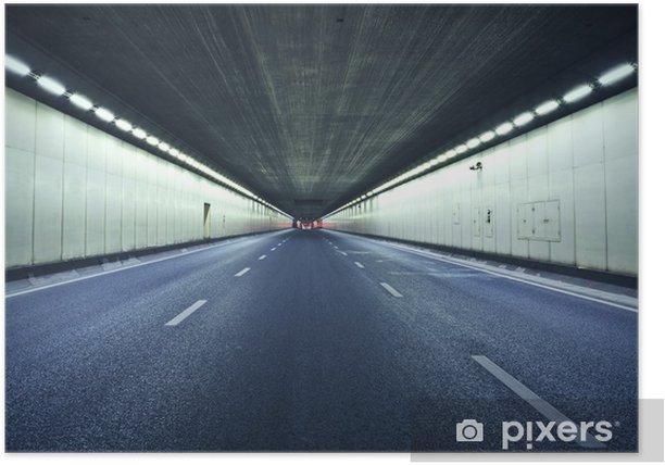Poster Le tunnel la nuit, les lumières formé une ligne. - Thèmes