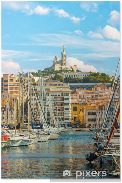 Poster Le vieux port de Marseille Vieux soir tard - Europe