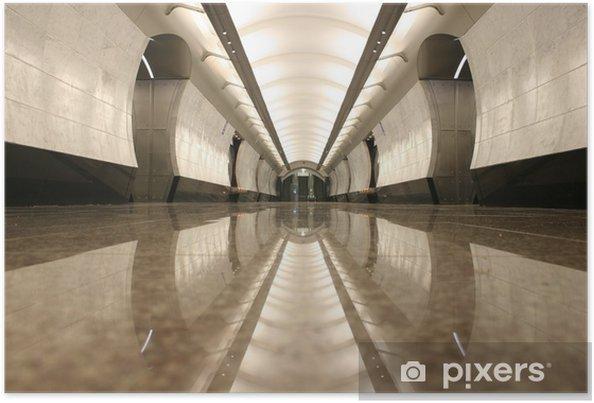 Poster Lege metrostation vloer - Moskou