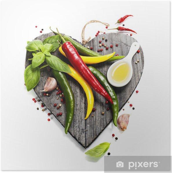 Poster Légumes frais sur le coeur en forme de planche à découper -
