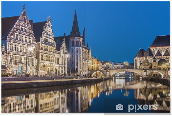 Poster Leie river bank in Ghent, Belgium, Europe. - Europa