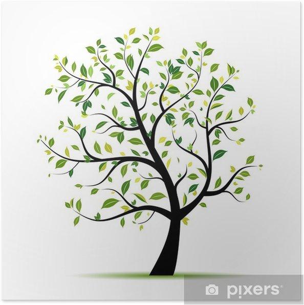 Poster Lente boom groen voor uw ontwerp - Muursticker