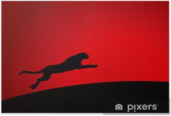 Póster Leopardo corriendo - Fondos