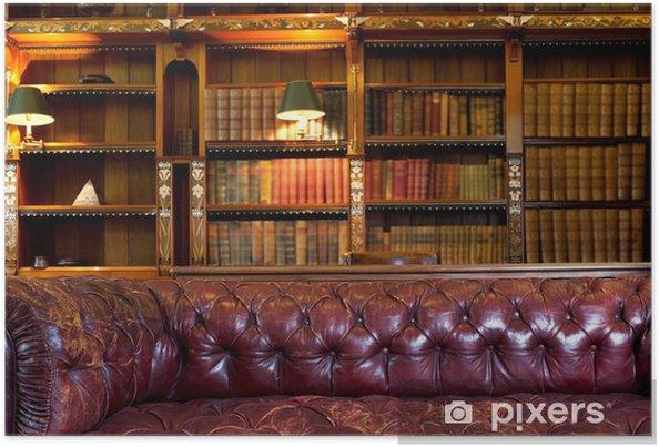 Retro Leren Bank.Poster Leren Bank En Retro Bibliotheek Pixers We Leven Om Te