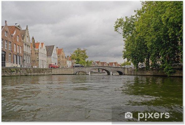 Poster Les canaux d'eau à Bruges - Europe