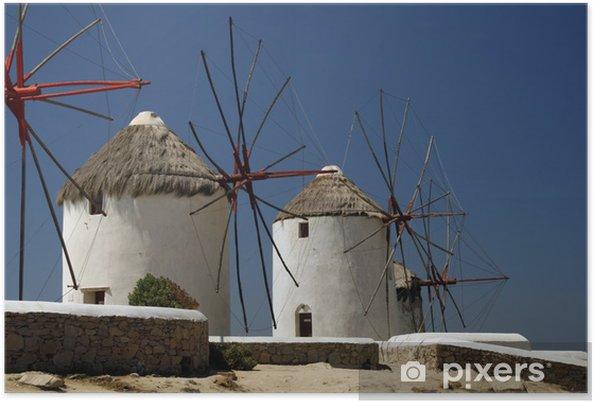 Poster Les célèbres moulins à vent de l'île de Mykonos, en Grèce - Europe