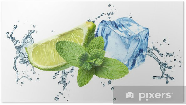 Poster Les cubes de glace, feuilles de menthe, les éclaboussures d'eau et de chaux sur un fond blanc - Sticker mural