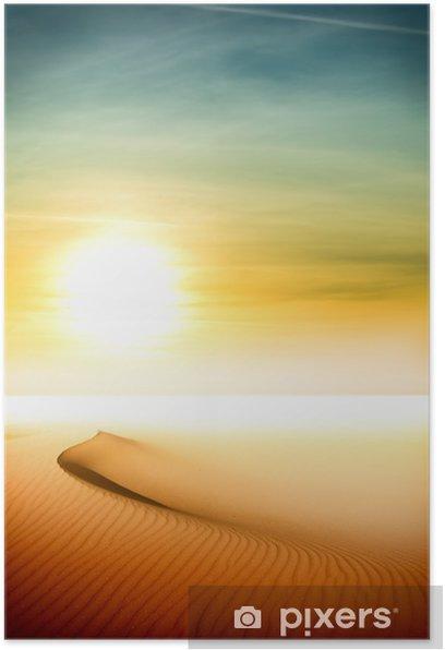 Poster Les dunes de sable au coucher du soleil dans le désert du Sahara - Désert
