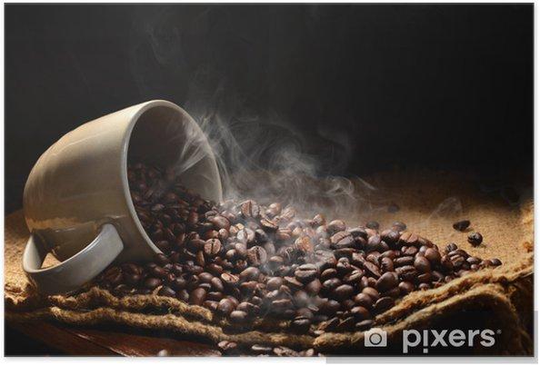 Poster Les grains de café avec de la fumée dans la tasse de café - Thèmes