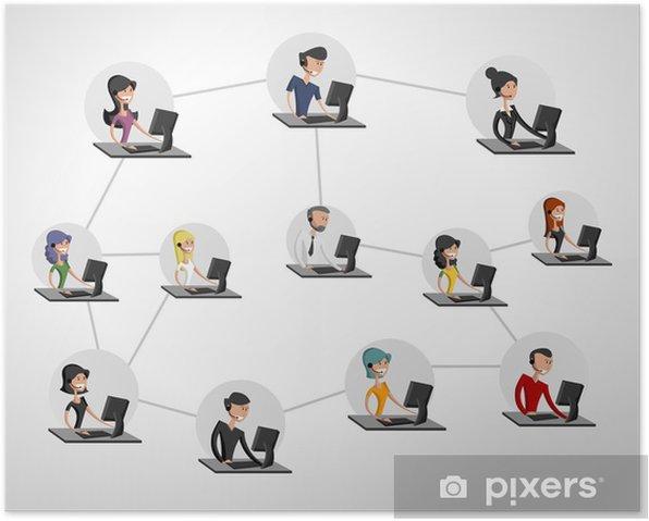 Poster Les jeunes connectés en utilisant un ordinateur. Réseau social. - Internet et réseaux