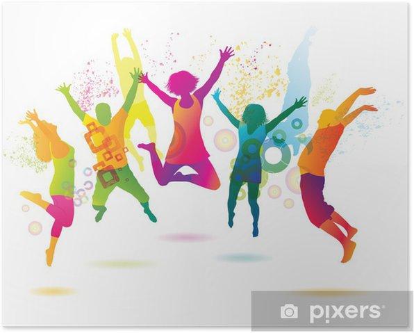 Poster Les jeunes sur le parti. Les adolescents de danse. - Sticker mural