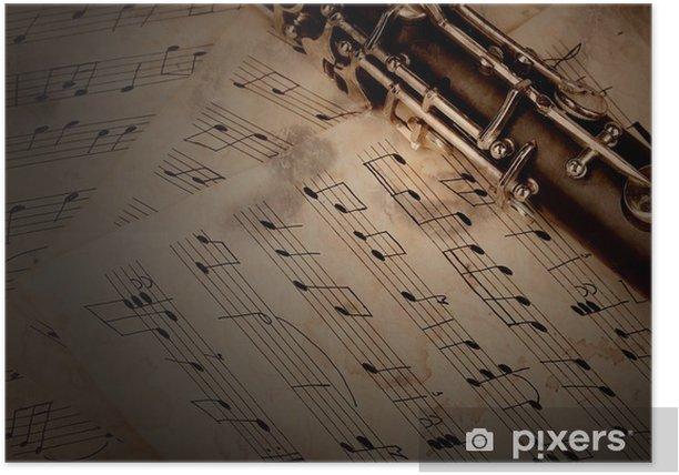 Poster Les notes de musique et la clarinette sur table en bois - Musique