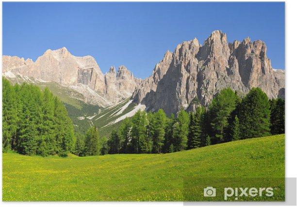 Poster Les pics des Dolomites, Rosengarten, Val di Fassa, Italie Alpes - Europe
