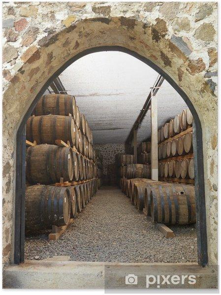 Poster Les tonneaux de vin - Alcool