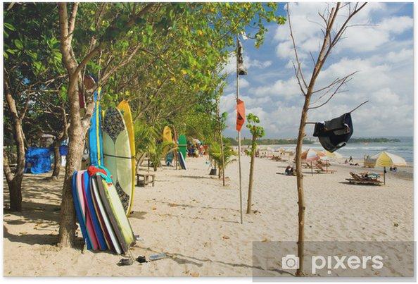 Poster Les touristes de louer des planches Bodyboards Kuta Beach - Asie