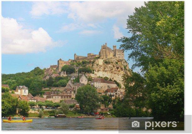 Poster Les touristes en kayak sur la rivière Dordogne, dans le sud de la France. - Thèmes