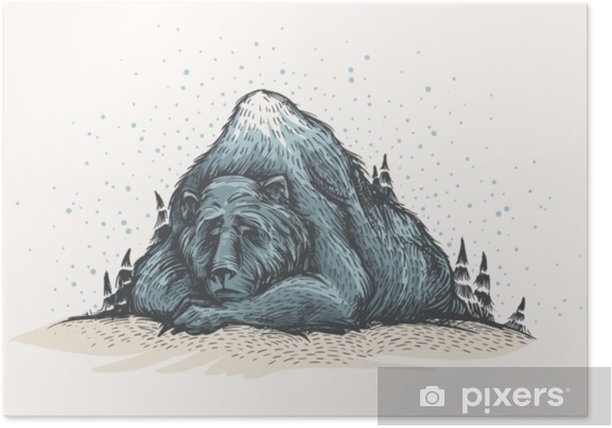Let it snow. Cute and lovely handsketched illustration of old sleeping bear, looks like a mountain, into the woods. Forest bear, winter mood, christmas card. Seasonal greetings. Poster - Animals