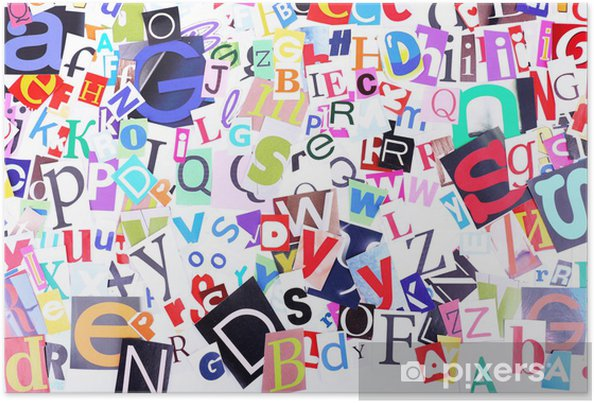Póster Letras de periódico de colores como fondo - Temas