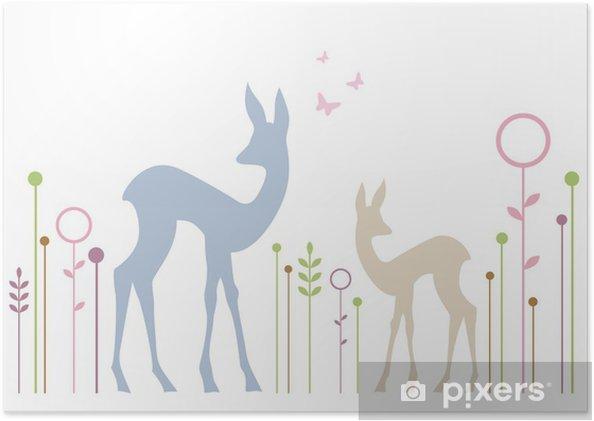 Poster Leuke herten met florale achtergrond, vector - Muursticker