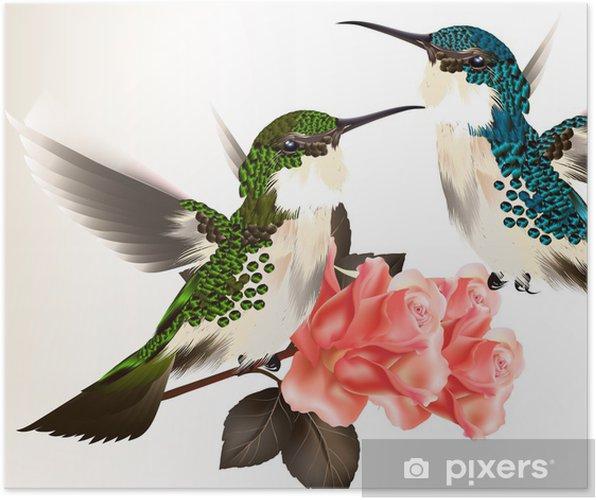 Poster Leuke valentijn kaart met paar zoemende vogel en rozen - Nationale Evenementen