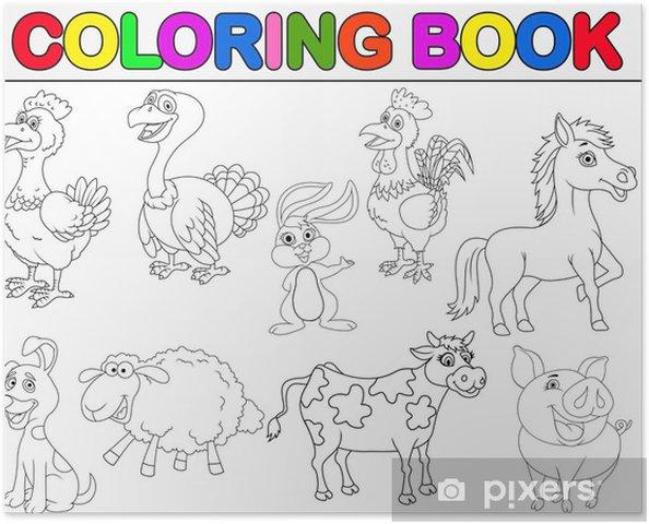 Póster Libro para colorear animales de granja • Pixers® - Vivimos ...