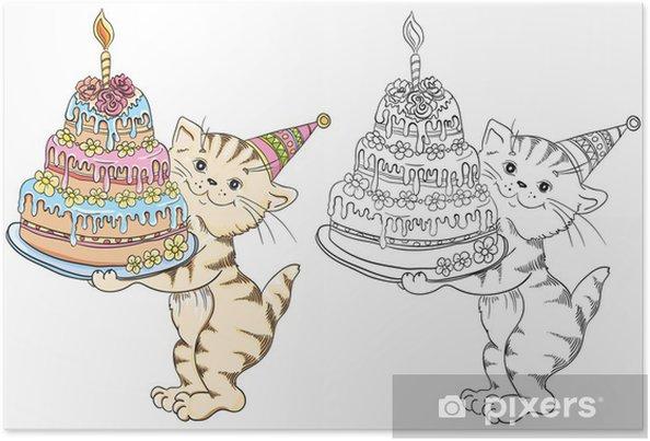 Póster Libro para colorear con gato de dibujos animados con la torta ...