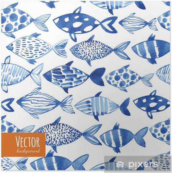 Poster Licht aquarel blauwe vissen op de zwarte achtergrond. - Grafische Bronnen
